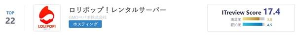 ITreview Best Software in Japan 2021にロリポップサーバーがランクイン